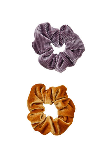 Pack of 2 velvet corduroy scrunchies