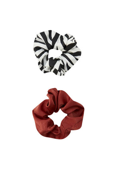 Pack of scrunchies with zebra print
