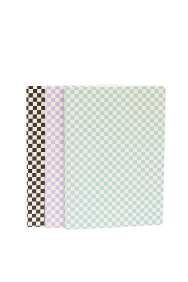 Pack of 3 check print notebooks