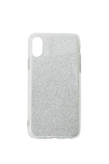 Silberfarbene Smartphone-Hülle mit Puder mit Glanzpartikeln
