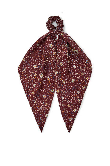 Maroon floral print scarf-style scrunchie