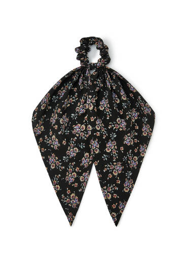 Black floral print scarf-style scrunchie