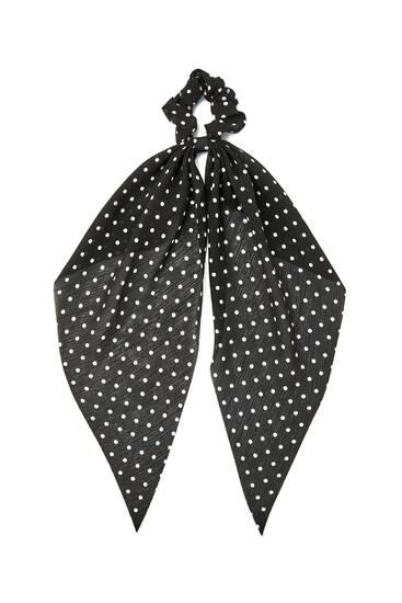 Черная резинка-платок для волос в горошек