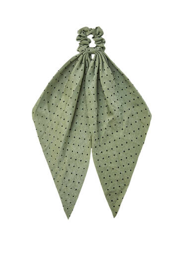 Khaki scarf-style scrunchie with polka dots