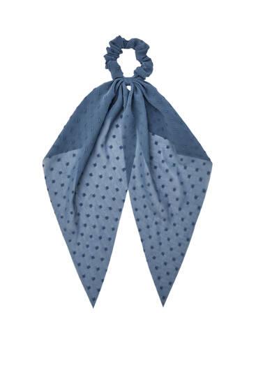 Синяя резинка-платок для волос из ткани с вышивкой плюмети