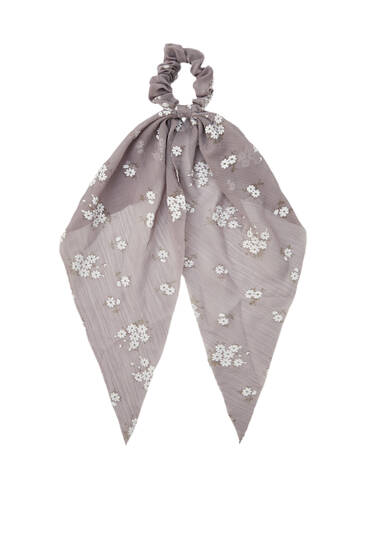 Pink floral print scarf-style scrunchie