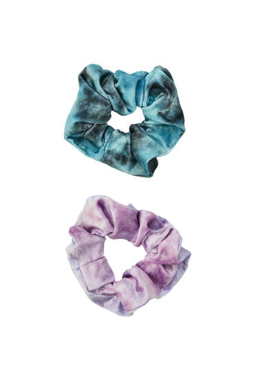 Pack of velvet tie-dye scrunchies