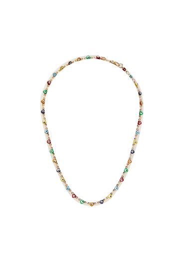 Gold-coloured necklace with multicoloured eyes