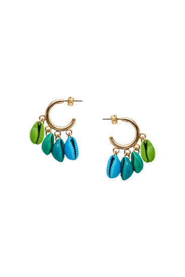 Coloured seashell hoop earrings