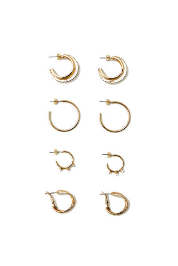 Pack of hoop earrings with faux pearl details