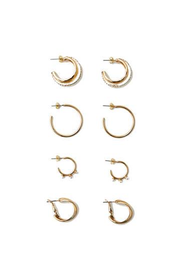 Pack of hoop earrings with faux pearl details
