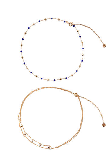 Pack of 2 choker necklaces with stars and beads