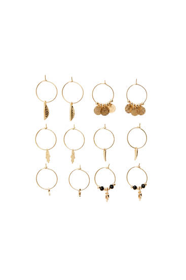 Pack of hoop earrings with charms