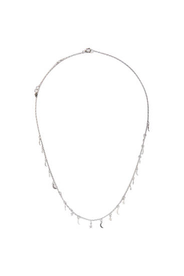 Silver-toned necklace with moons and stars