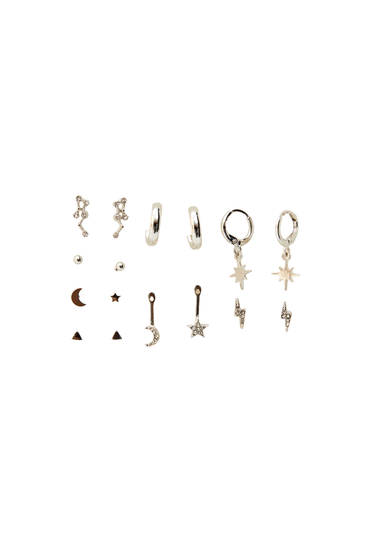 Pack of silver cosmos earrings