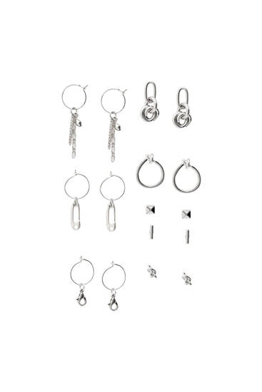 Pack of 8 silver-toned earrings
