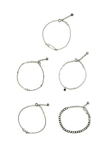 Pack of bracelets with cross and safety pin details