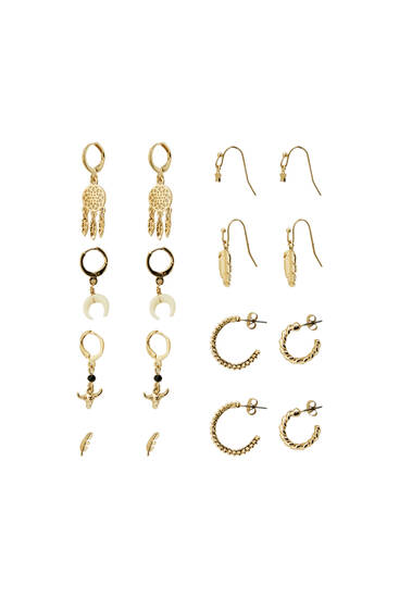 Pack of earrings with moon detail