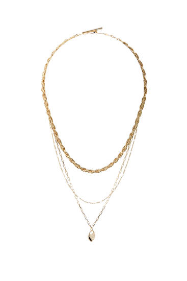 Pack of gold-toned necklaces with heart pendant