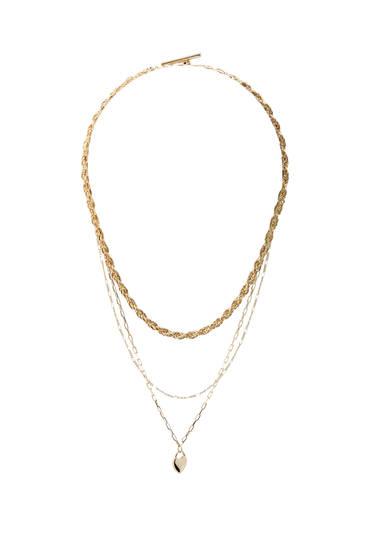 Pack de colares dourados com coração
