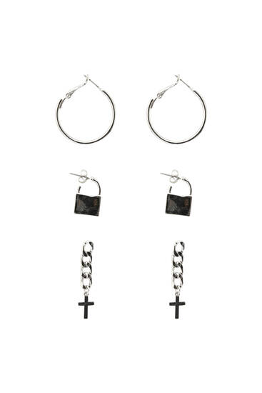 Pack of cross and padlock earrings