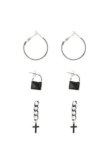 Pack of cross and padlock earrings