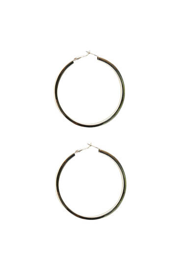 Silver maxi hoop earrings