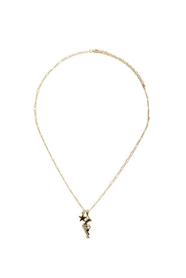 Golden necklace with pistol pendant