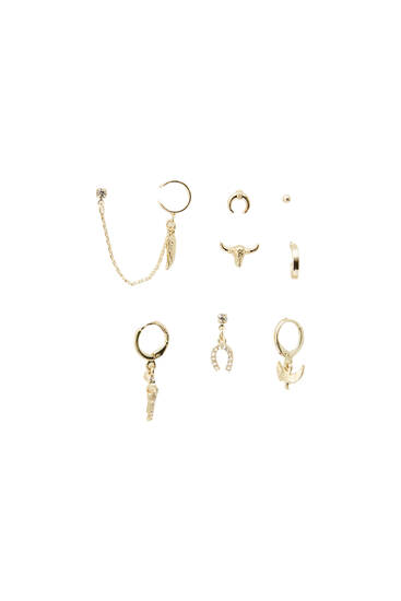 Pack of 8 pairs of gold-toned earrings