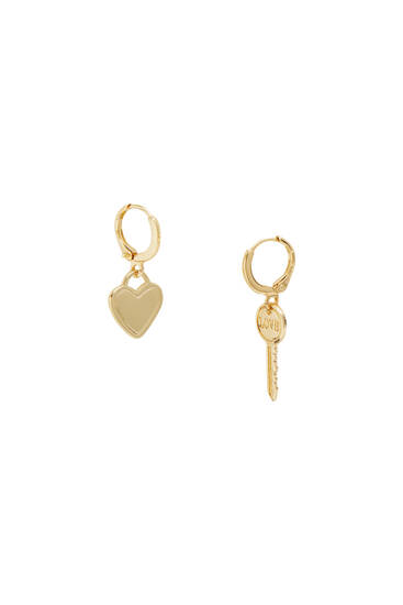 Earrings with heart and key