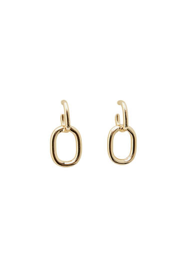 Double link golden earrings