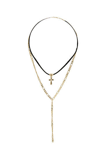 Pack of cord cross necklaces