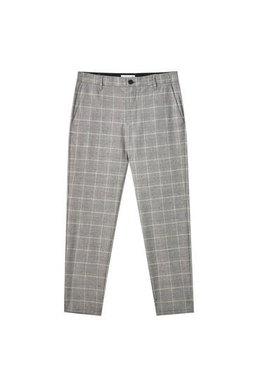 Contrast checked tailored trousers