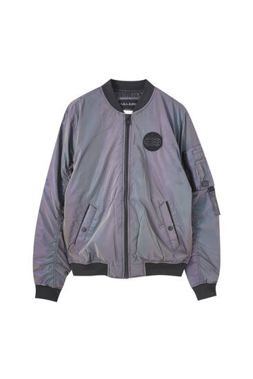 Reflective fabric bomber jacket