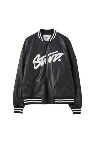 STWD faux leather bomber jacket