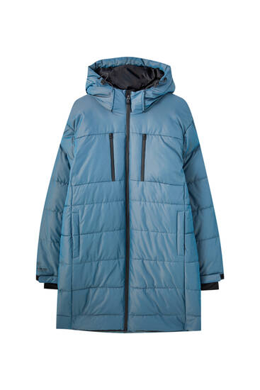 Long iridescent down puffer jacket