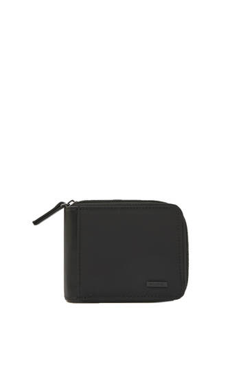 Black faux leather wallet with zip