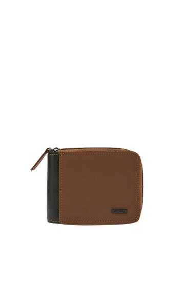 Brown wallet with contrast panel