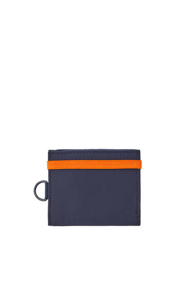 Blue wallet with elastic band