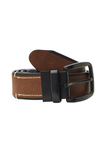 Reversible belt with stitching
