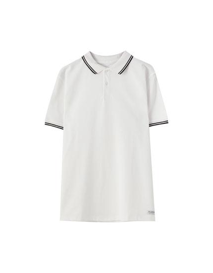 Pólóing kontrasztos gallérral és ujjakkal