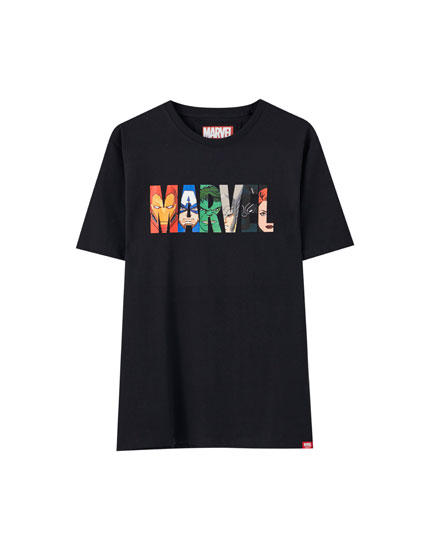 Black contrast Marvel T-shirt