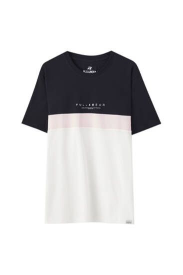 Basic colour block T-shirt with logo