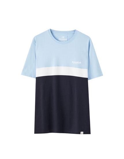Tricou simplu color block colorat