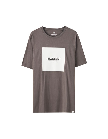 Basic T-shirt with square logo print