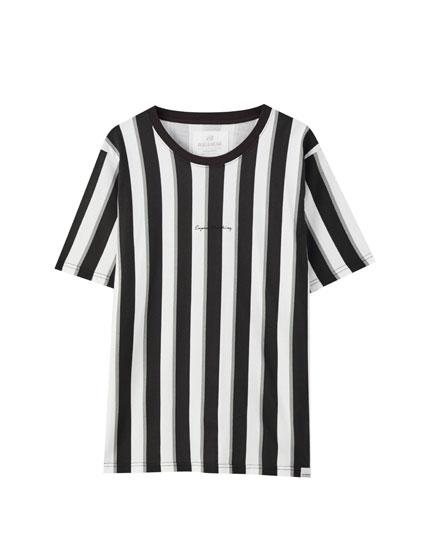 Vertical stripe print T-shirt