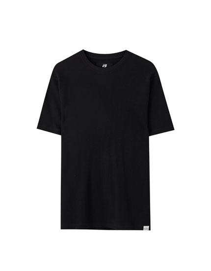 Basic waffle-knit fabric T-shirt