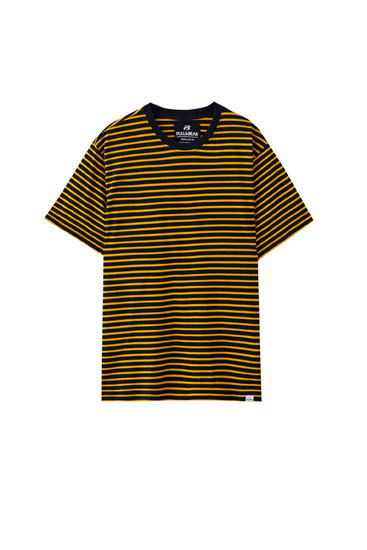 Basic horizontal stripe print T-shirt