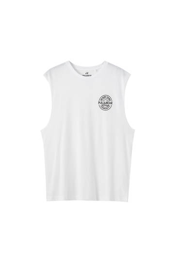 Sleeveless T-shirt with contrast logo