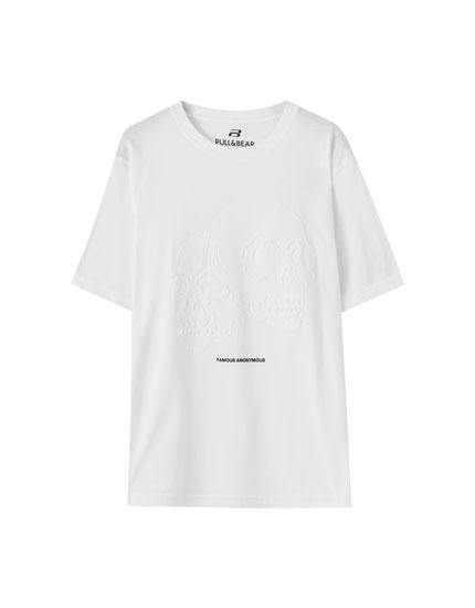 Camiseta blanca doble calavera